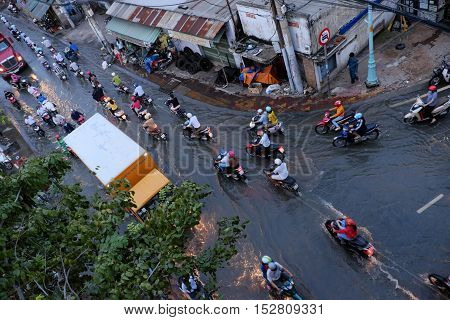 Awful Flooded Street At Ho Chi Minh City