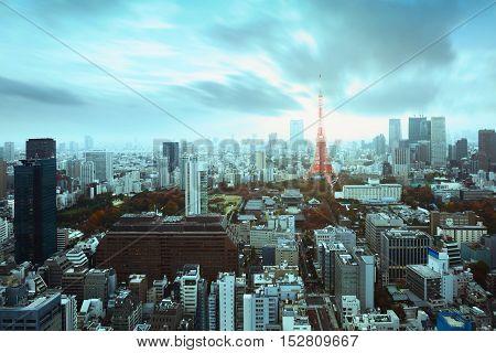 Tokyo city skyline with Tokyo tower Tokyo Japan Vintage film look color Tone