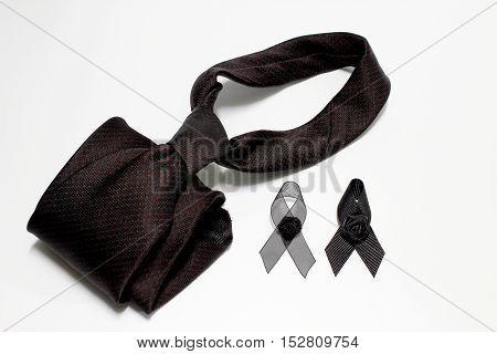 Black Ribbon And Black Necktie; Decoration Black Ribbon Hand Made Artistic Design For Sadness Expres