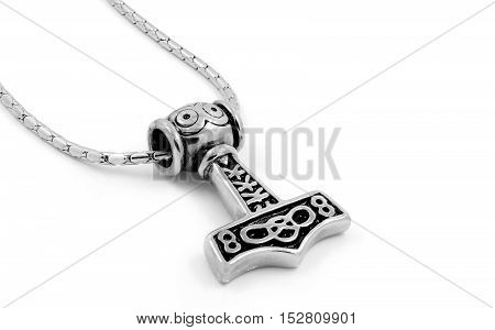 Thor's Hammer - Silver Pendant - Stainless Steel