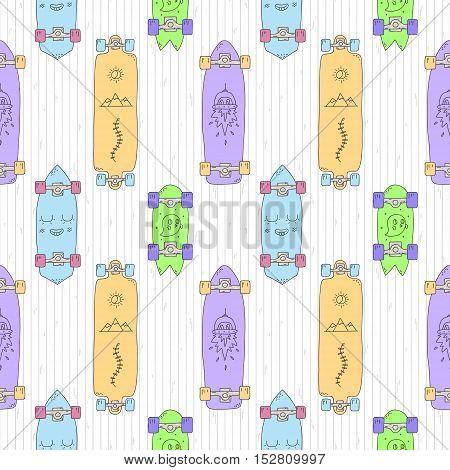 Skateboards and longboards cartoon vector seamless pattern (orange purple blue green). Part two.