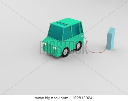 Electric vehicle at charge station in white background. Green low poly car charged by blue charger. Electric vehicle no need fuel energy.