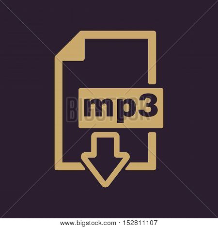 The mp3 icon. File audio format symbol. Flat Vector illustration. Button