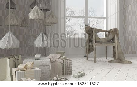 Scandinavian interior with Christmas decors, 3d illustration