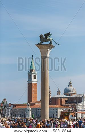 Venice Italy - May 05 2016: View of the towers of Venice on Marco Polo square spring time