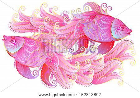 Illustration of couple of beautiful pink fishes playing, vector cartoon image.