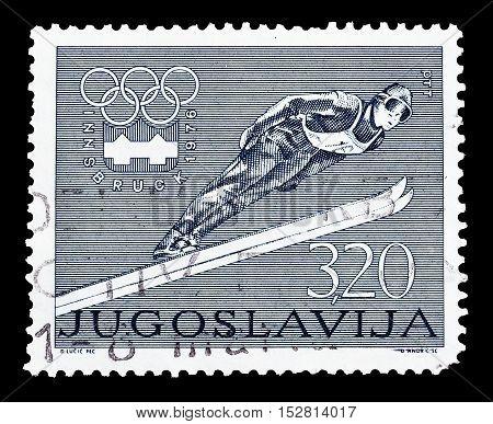 YUGOSLAVIA - CIRCA 1976 : Cancelled postage stamp printed by Yugoslavia, that shows Ski jump.
