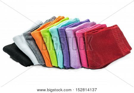 colorful socks isolated on white background. Different colors of socks are red, green, yellow, blue, etc.