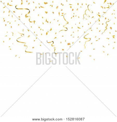 Gold confetti celebration isolated on white background. Falling golden abstract decoration for party birthday celebrate anniversary or Christmas New Year. Festival decor. Vector illustration
