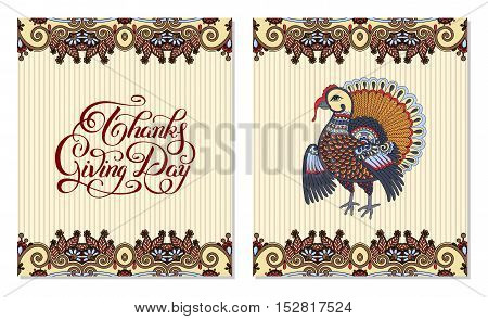 Thanks Giving Day decorative greeting card with turkey and handwritten inscription to holiday design, typographic vector illustration
