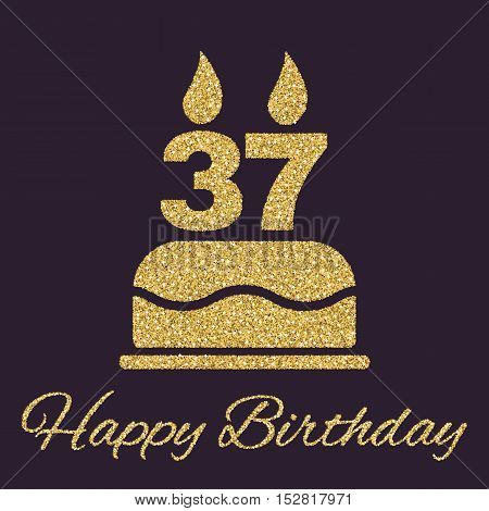 The birthday cake with candles in the form of number 37 icon. Birthday symbol. Gold sparkles and glitter Vector illustration. Button Set