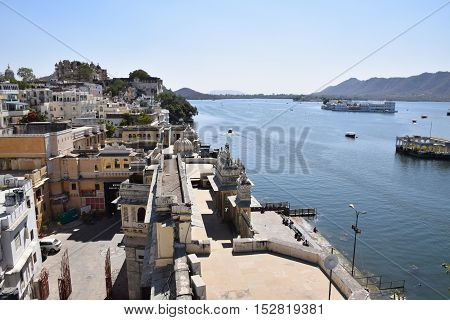 Breathtaking aerial view of Udaipur and lake Pichola from a terrace, Rajasthan, India