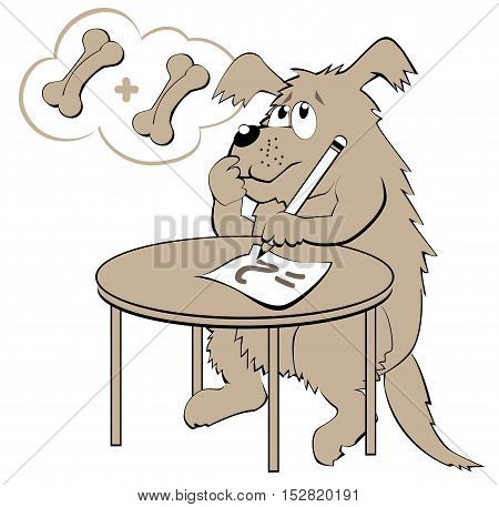 Illustration of dog learning count numbers, vector cartoon image.