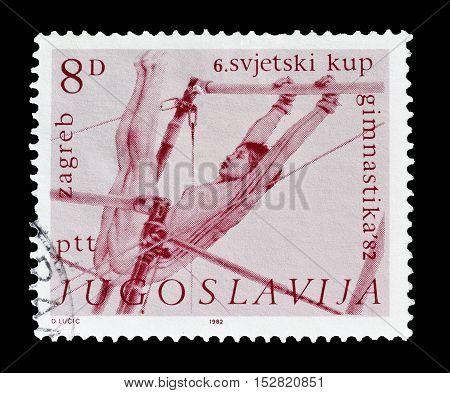 YUGOSLAVIA - CIRCA 1972 : Cancelled postage stamp printed by Yugoslavia, that shows Gymnast.