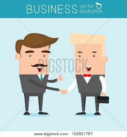 business partners handshaking, Hipster Businessman shaking hands Vector Illustration