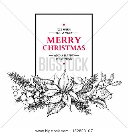 Christmas garland. Vector hand drawn illustration with holly, mistletoe, poinsettia, pine cone, cotton, fir tree. Engraved traditional xmas botanical decoration. Greeting card, holiday banner