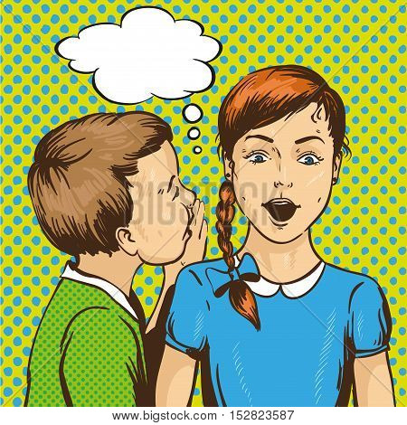 Pop art retro comic vector illustration. Kid whispering gossip or secret to his friend. Children talk to each other. Speech bubble.
