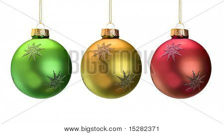 Shiny Christmas ornaments isolated on white.