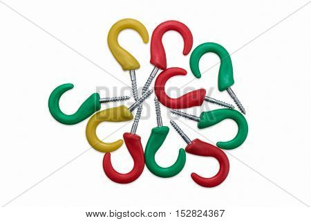 Red Yellow and Green Screw in Hooks on White
