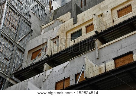 Building abandoned before it was finished, economic crisis