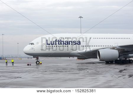 Lufthansa Airbus A380 Airplane Workers