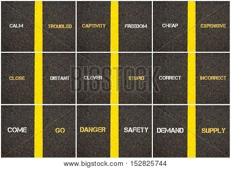 Photo Collage Of Antonym Concepts Written Over Tarmac