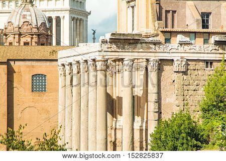 Old columns of Temple of Antoninus and Faustina, adopted to church of San Lorenzo in Miranda, Forum Romanom (Roman Forum), Rome, Italy