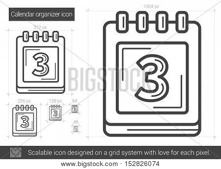 Calendar organizer vector line icon isolated on white background. Calendar organizer line icon for infographic, website or app. Scalable icon designed on a grid system.