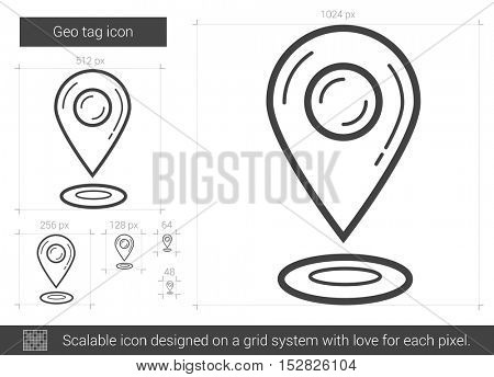 Geo tag vector line icon isolated on white background. Geo tag line icon for infographic, website or app. Scalable icon designed on a grid system.