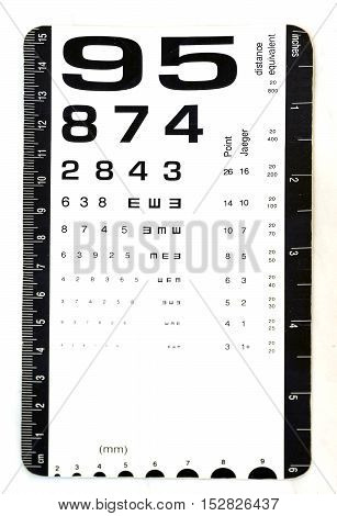 Card For Eye Test Use By Doctors