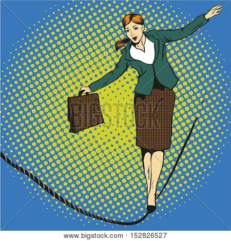 Business concept vector illustration in retro comic pop art style. Businesswoman walk on tight rope.
