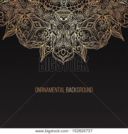 Business Card beautiful mandala ornament. Arabic and Indian style. Design template, banner, discount for clothing, electronics, games, furniture, cars, online shopping Vector illustration gold