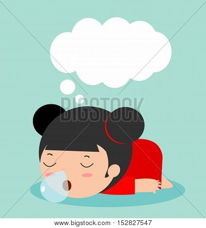 kid sleeping at home on background, children resting at home. Simple cartoon of girl taking nap Vector illustration