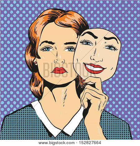 Woman with sad unhappy face holding mask with a fake smile. Vector illustration in comic retro pop art style.