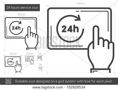 24 hours service vector line icon isolated on white background. 24 hours service line icon for infographic, website or app. Scalable icon designed on a grid system.