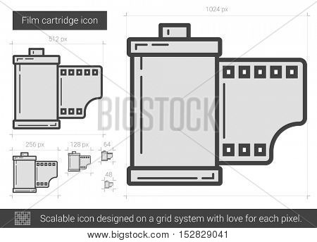 Film cartridge vector line icon isolated on white background. Film cartridge line icon for infographic, website or app. Scalable icon designed on a grid system.