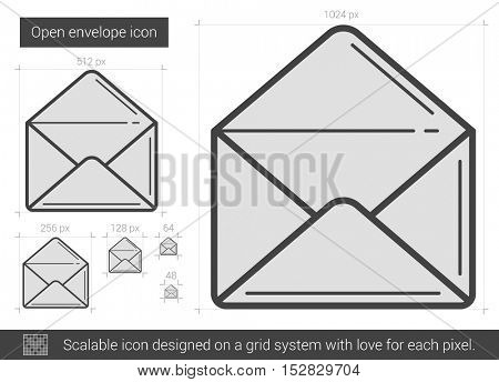 Open envelope vector line icon isolated on white background. Open envelope line icon for infographic, website or app. Scalable icon designed on a grid system.