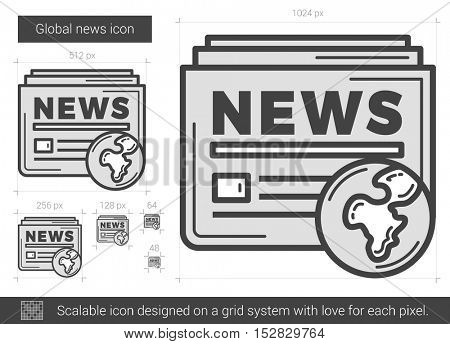 Global news vector line icon isolated on white background. Global news line icon for infographic, website or app. Scalable icon designed on a grid system.