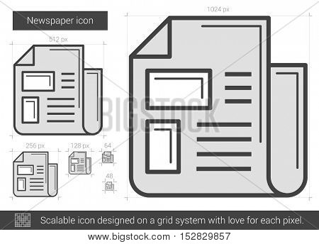 Newspaper vector line icon isolated on white background. Newspaper line icon for infographic, website or app. Scalable icon designed on a grid system.