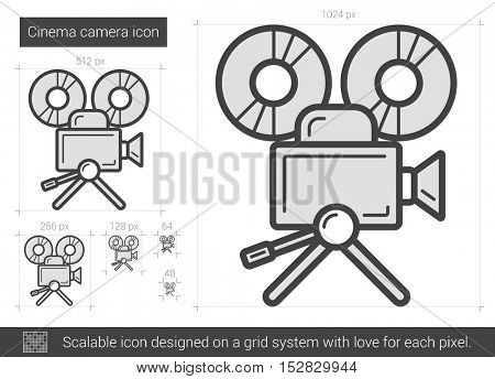 Cinema camera vector line icon isolated on white background. Cinema camera line icon for infographic, website or app. Scalable icon designed on a grid system.