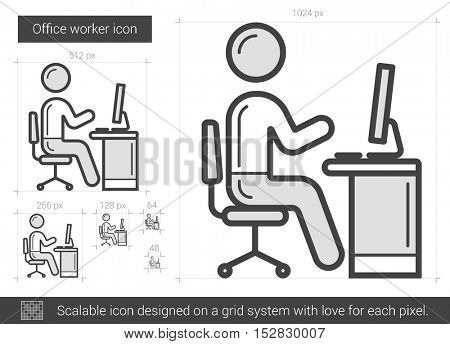 Office worker vector line icon isolated on white background. Office worker line icon for infographic, website or app. Scalable icon designed on a grid system.