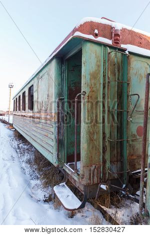 old wooden wagon narrow gauge railway in central Russia