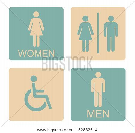 WC Icon Male Female Invalid - Sign Toilet And Restroom Retro Style Vector Flat Illustration Stock -