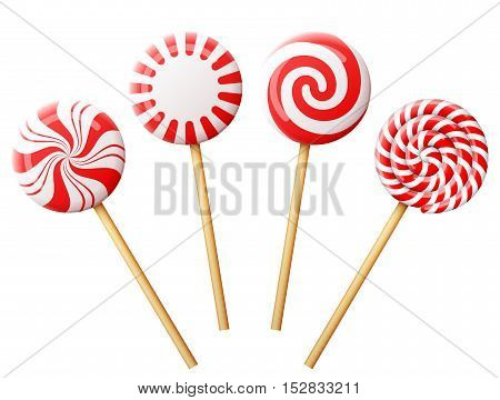 Set of christmas candy on wooden stick. Striped peppermint lollipops isolated on white. Vector illustration for christmas new years day sweet-stuff winter holiday dessert new years eve etc