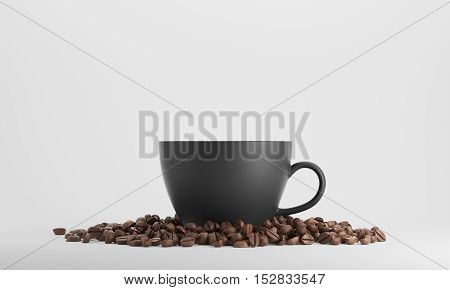 Black Cup Of Coffee Against White Background