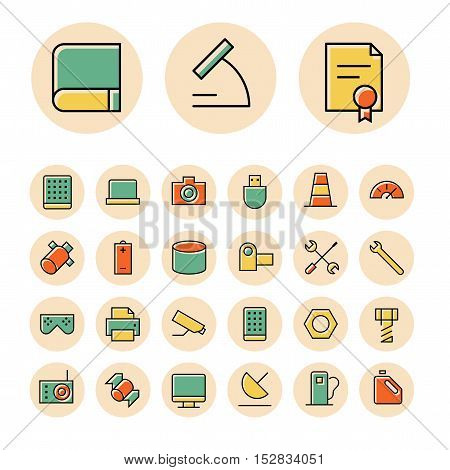 Thin line icons for science and technology. Vector illustration.