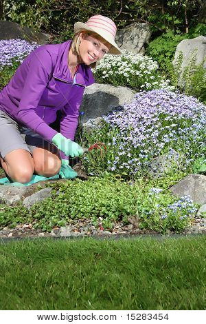 Happy lady gardening in a flower bed.