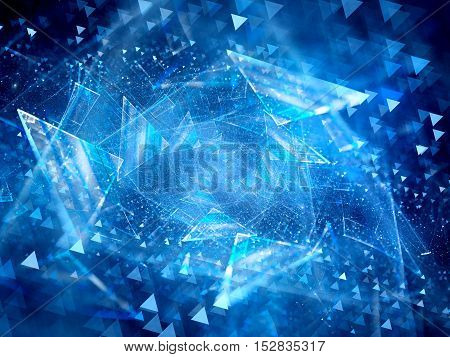 Blue glowing flying triangles in space new space technology computer generated abstract background 3D render