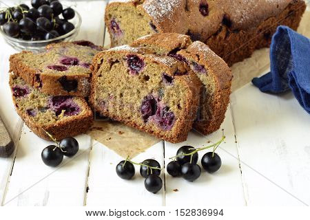 Homemade wholewheat cake with blackcurrant, copy space