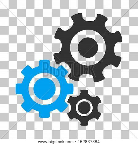 Blue And Gray Gear Mechanism toolbar pictogram. Vector pictograph style is a flat bicolor symbol on chess transparent background.